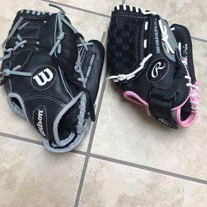 2 youth Softball gloves-  LIKE NEW